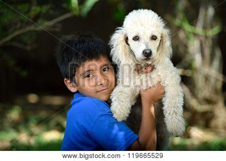 White Poodle Friend Of Boy