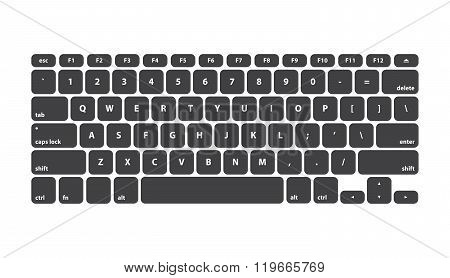 Black Keyboard Stroke QWERTY - Isolated Vector Illustration