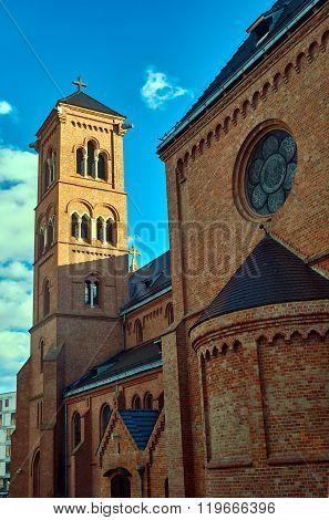Brick Catholic Church in basilica neo-Romanesque style