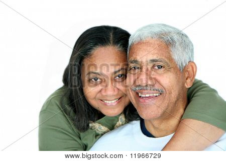 Minority couple set against a white background