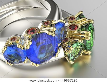 ring with diamond. Sign of love. Fashion jewelry background. Sapphire