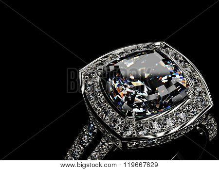ring with diamond. Sign of love. Fashion jewelry background