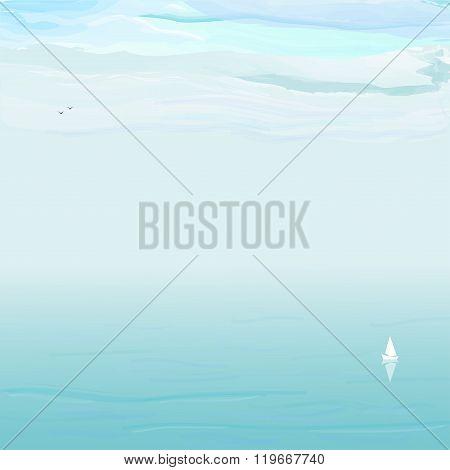 Blue sea, white clouds
