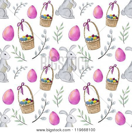 Watercolor Easter Seamless Pattern