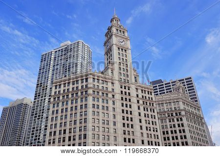 CHICAGO, IL - Oct 1: Wrigley Building closeup on October 1, 2011 in Chicago, Illinois. It has the most extensive use of terra cotta in the world and is one of Chicago's most attractive buildings.