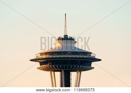 SEATTLE, WA - AUG 14: Space Needle closeup on August 14, 2015 in Seattle. Seattle is the largest city in both the State of Washington and the Pacific Northwest region of North America