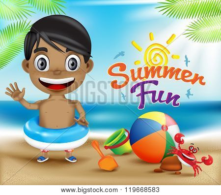 Happy Kid Summer Fun and Crab in a Sunny Bright Sky Design Concept