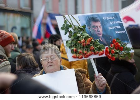 Portraits Boris Nemtsov at the memorial march