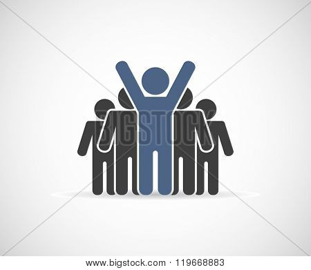 leader businessman - teamwork icon