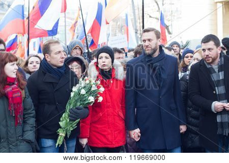 Julia and Alexey Navalny, Leonid Volkov on the March in memory of Boris Nemtsov