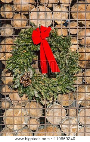 Christms Wreath On Metal And Wood Wall