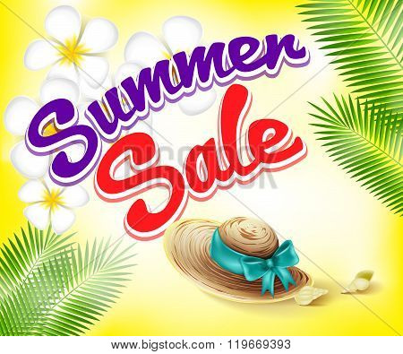 Summer Sale Design with Orchid Flowers and Straw Hat Vector Elements