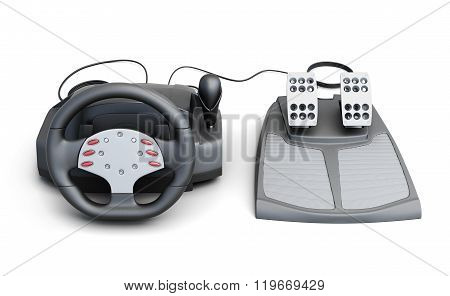Gaming steering wheel with pedals isolated on white background.
