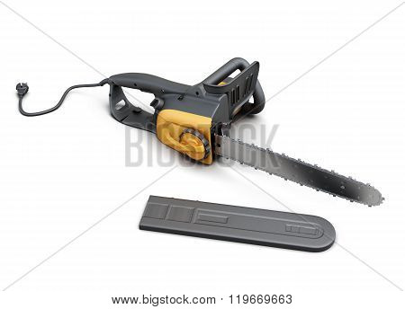 Electric saw with case on white background. 3d rendering