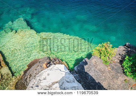 Abstract background view of  gorgeous  rocks lying  underwater of  great Cyprus lake
