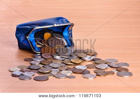 Blue Purse And Coins