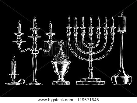 Vector Illustration Set Of Candlesticks.