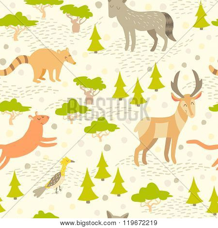 North American cute animals seamless pattern for kids.