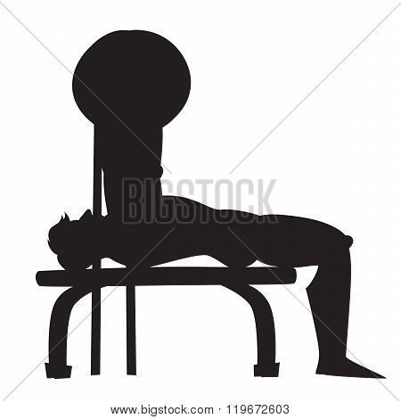 Silhouette vector illustration. Cartoon style athlete. Bench press exercise.
