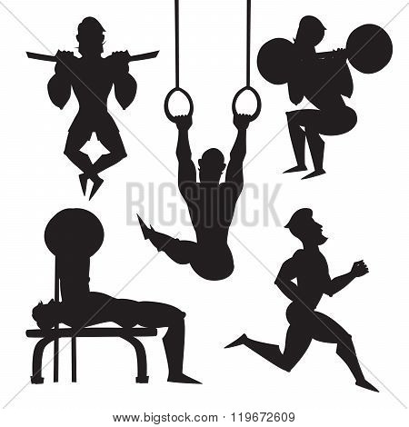 Silhouette illustration set of male athletes.
