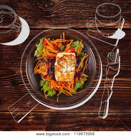 Delicious Grilled Halloumi Cheese With Salad.