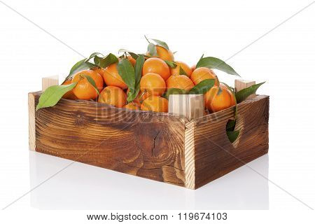 Fresh Ripe Mandarines In Wooden Crate.