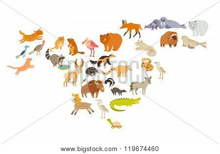 Animals world map North America. Colorful cartoon vector illustration for children and kids