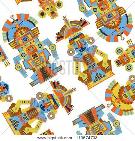 Aztec And Maya Ceremonial Sculptures. Seamless Background Pattern.