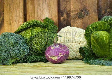 Fresh Organic Market Vegetables On Wooden Background