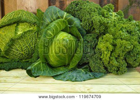 Fresh Green Organic Market Vegetables On Wooden Background