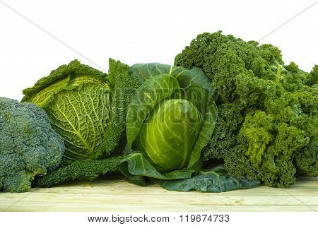 Fresh Green Organic Market Vegetables On White Background