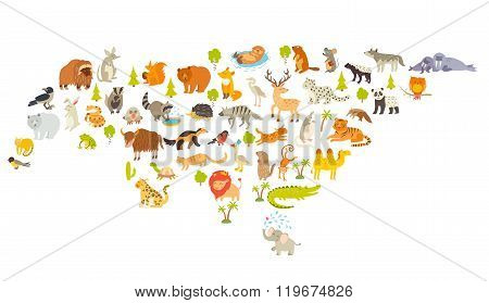 Animals world map Eurasia. Colorful cartoon vector illustration for children and kids