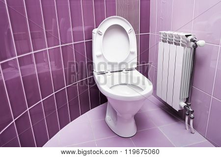 Washroom in purple color.