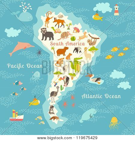 Animals world map Sorth America. Vector illustration