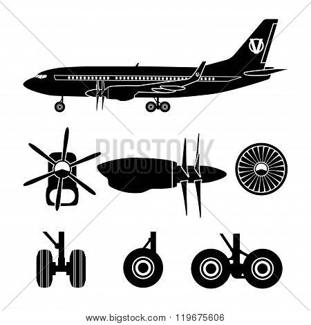 Jets Constructor. Black Silhouettes Aircraft Parts. Collection Of Symbols For The Repair Of Aircraft