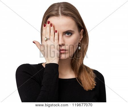 Portrait Of A Sad Woman, One Eye Is Closed By The Hand