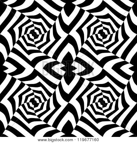 Vector modern seamless geometry pattern trippy black and white abstract