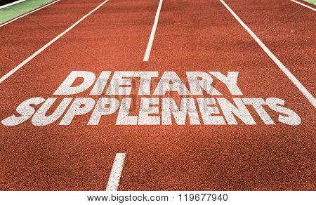 Dietary Supplements written on running track