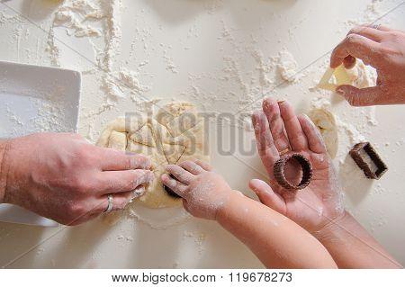 Hands Adult, Child Cook Cookies In Kitchen Closeup