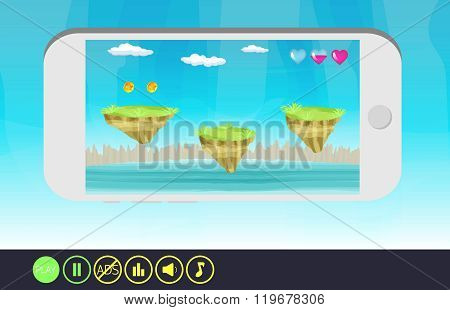 Cartoon fantasy landscape.Ready UI for game mobile.