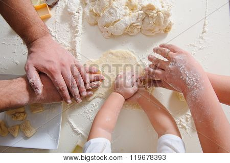 Hands Adult, Child Cook Cookies In Kitchen Closeup