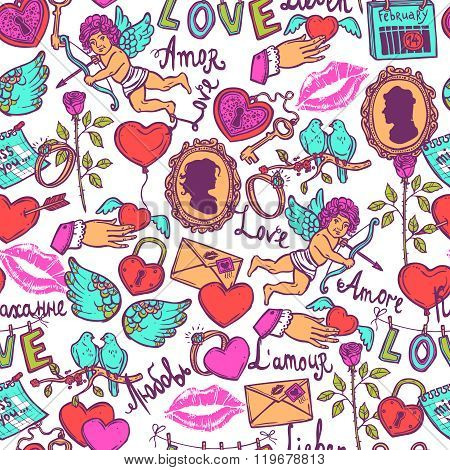 seamless pattern with love elements in sketch style for Valentin's day, heart with key, Cupid, heart