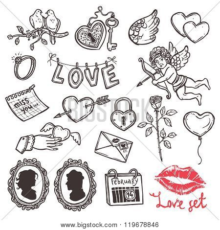 set of love elements in sketch style for Valentin's day, heart with key, Cupid, heart with Cupid's a
