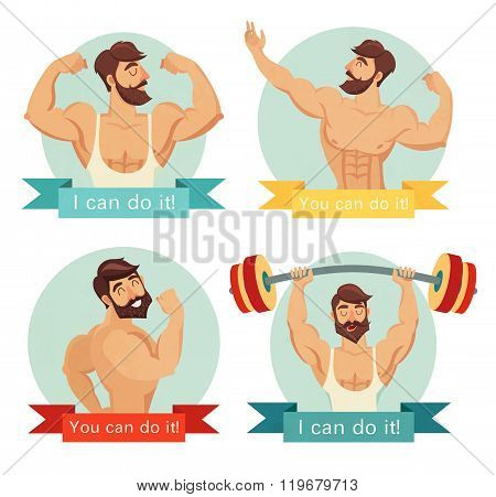 You can do it motivational and inspirational poster set. Gym bodybuilding concept image beard