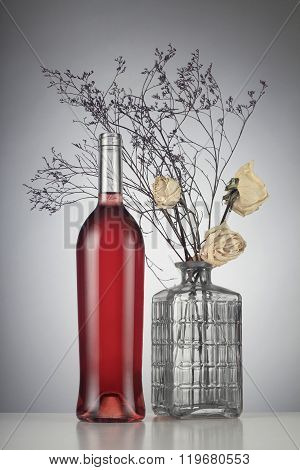Rose Wine Bottle With No Label