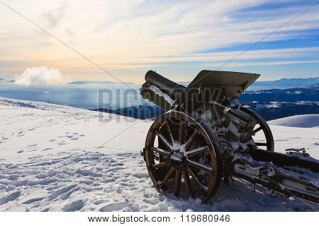 A cannon from Monte Grappa first world war memorial Italy. Winter view