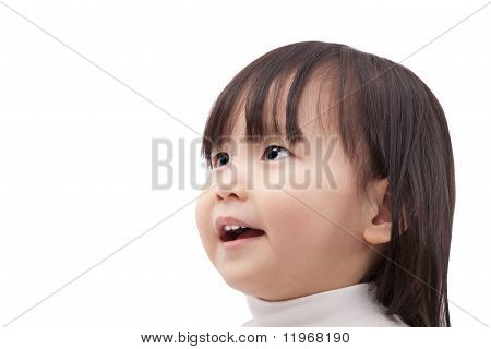 Asian little girl looking and smiling