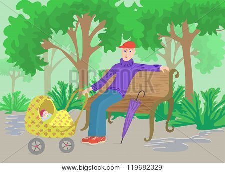 Man With Child In Pram Sitting On A Park Bench