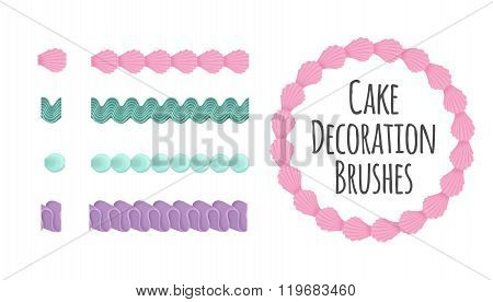 Naturally coloured realistic looking butter cream icing cake and dessert seamless decoration brushes