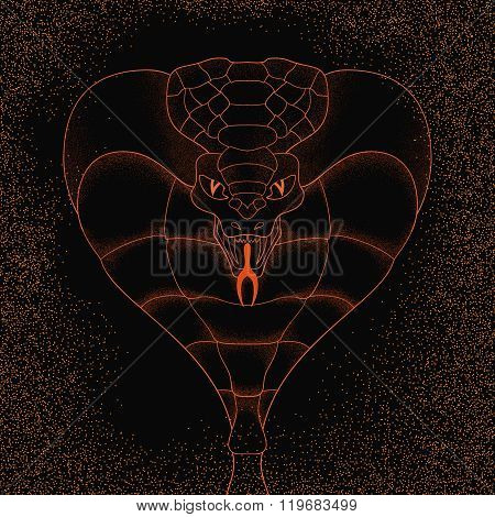 realisitc cobra on the grunge background with sparks of flame. symbolic painted illustration. line a